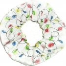 Holiday Lights Christmas Holiday White Fabric Hair Scrunchie Ties Scrunchies by Sherry