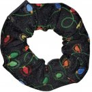 Holiday Lights Christmas Holiday Black Snow Flakes Fabric Hair Scrunchie Ties Scrunchies by Sherry