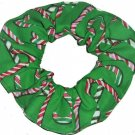 Candy Canes Christmas Holiday Green Red Fabric Hair Scrunchie Ties Scrunchies by Sherry