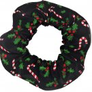 Candy Canes Holly Christmas Holiday Fabric Hair Scrunchie Ties Scrunchies by Sherry