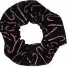 Candy Canes Christmas Holiday Red Green Black Fabric Hair Scrunchie Ties Scrunchies by Sherry