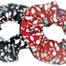 Bowling Ball Pins Hair Scrunchie Red Black Fabric Scrunchies by Sherry Set of 2 New for 2019