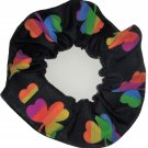 Rainbow Shamrocks St Patricks Day Black Fabric Hair Scrunchie Scrunchies by Sherry