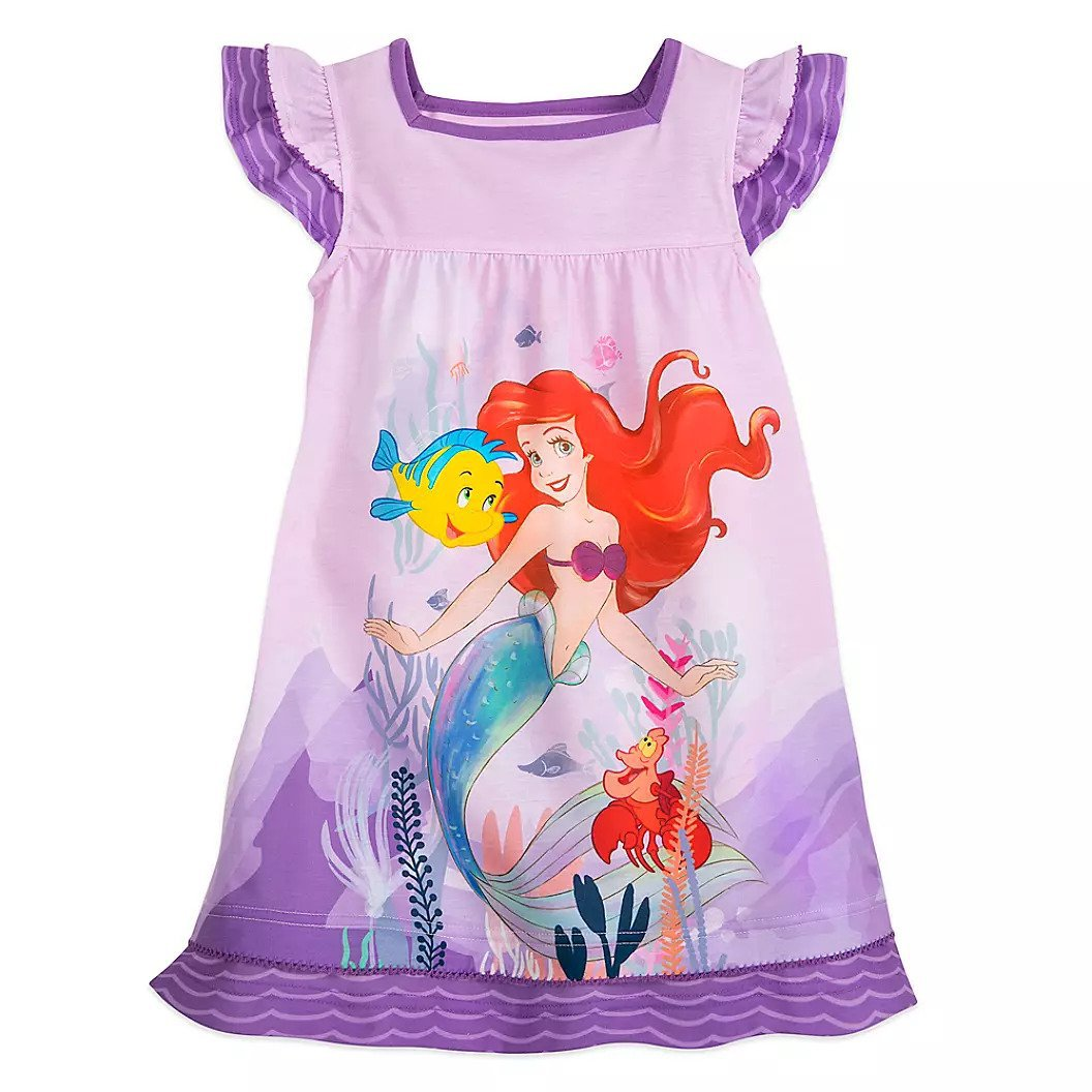Disney Store Ariel Nightshirt Princess The Little Mermaid Purple Size 5/6 New 2020
