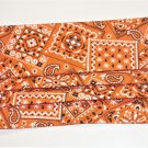 Orange Bandana Print Non Medical Grade Fabric Face Mask with Opening for Filter Scrunchies by Sherry