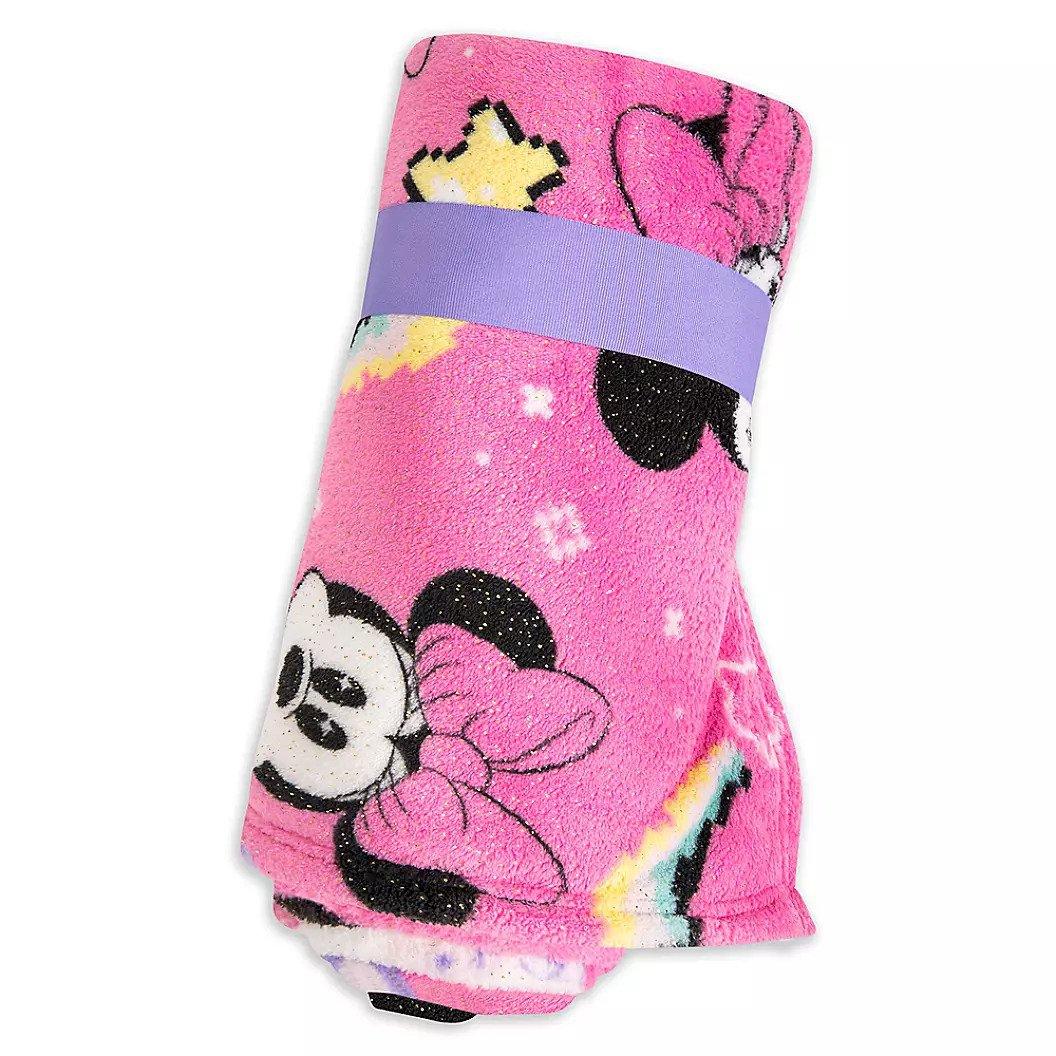 Disney Store Minnie Mouse Pink Printed Fleece Throw Blanket  2020