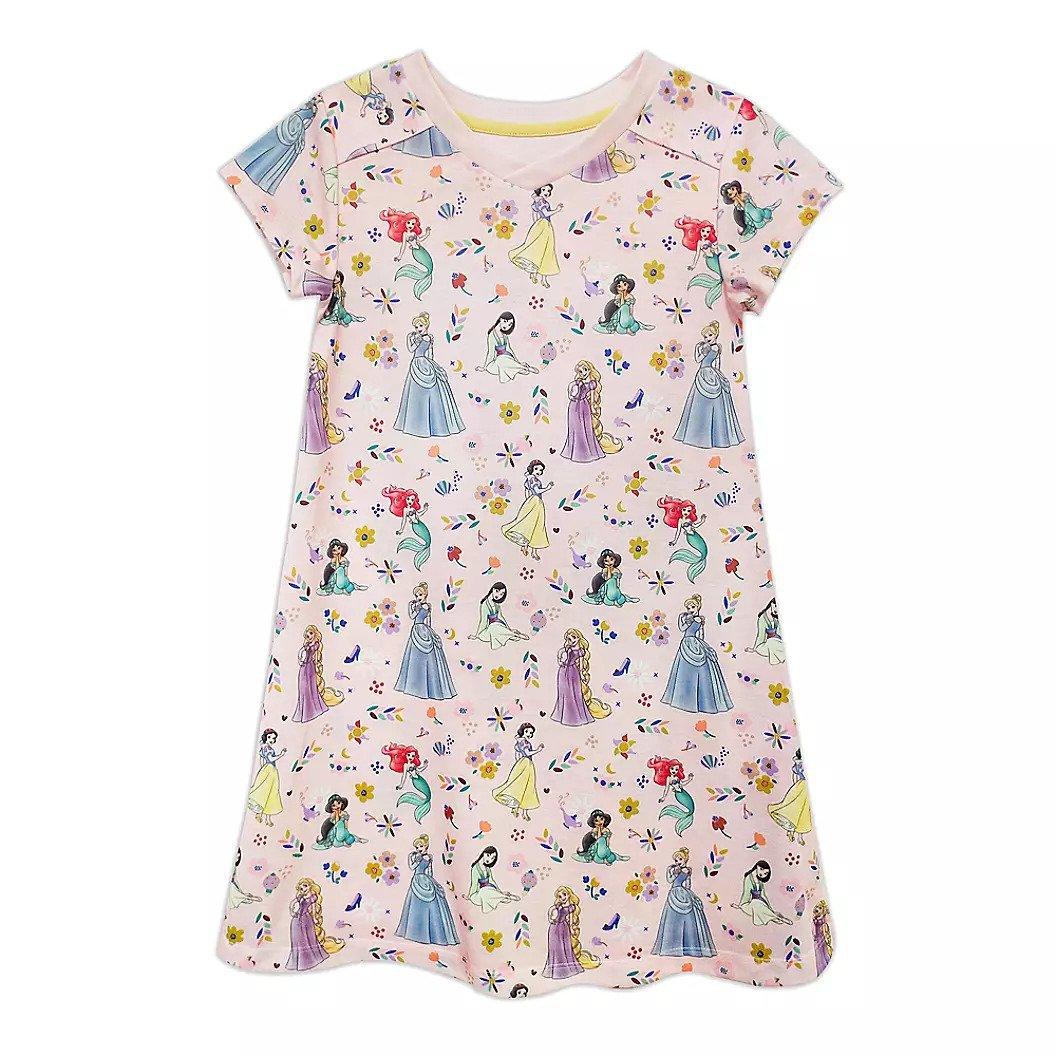 Disney Store Princess Ariel Jasmine Rapunzel Snow White Nightshirt Girls Pink 2021 Size 5-6