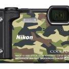 Nikon COOLPIX W300 GR Camouflage Waterproof Digital Camera Wi-Fi 2017 Japan USED