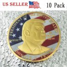 10PC US President Donald Trump Shiny Gold Coin with colour flag Collectible 45th