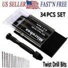 34Pc Mini Micro 0.3-2.0mm HSS Bit Set Hand Spiral Pin Vise Micro Twist Drill Set