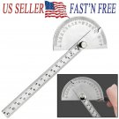 Stainless Steel 0-180° Protractor Angle Finder Arm Measuring Ruler 140mm Ruler