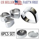 6pcs Set Heart-shaped Stainless Steel Cake Mousse Pastry Mini Baking Ring Mold