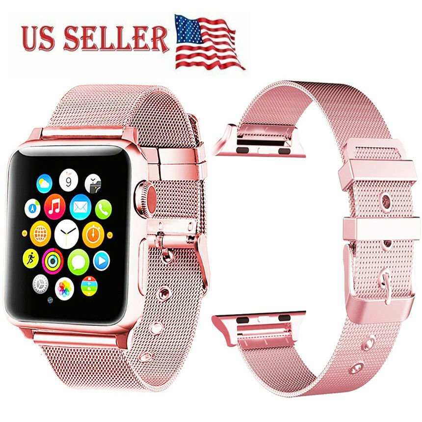 42mm Milanese Stainless Steel Bracelet Strap Band Apple Watch Series3 2 1 Rose G