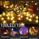 100 LED Globe Bulbs String Fairy Ball Lights Outdoor Waterproof Party Xmas Decor