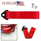 2Packs High Strength Sports Racing Tow Strap Front Rear Bumper Towing Hook Red