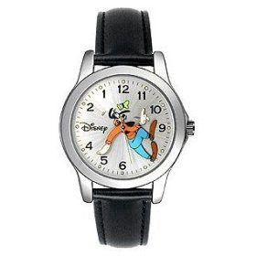 Disney Midsize Goofy Backward Backwards (Tooled Hands Analog) Silver Watch