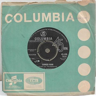 "THE SEEKERS Sinner Man COLUMBIA 1965 7"" SP India"
