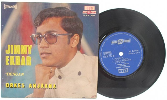"Malay 70s POP JIMMY EKBAR Orkes Anjaana 7"" PS EP"