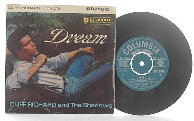"""CLIFF RICHARD & SHADOWS Dream ENGLAND 7"""" PS EP Mono"""