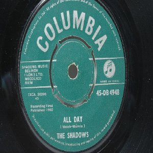 """THE SHADOWS Dance On! COLUMBIA INDIA Asia 7"""" 45 RPM PS"""