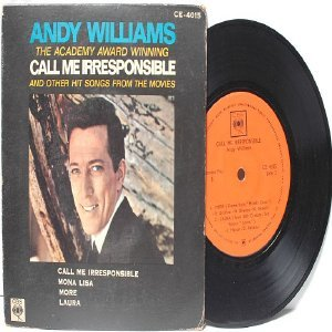 """ANDY WILLIAMS Call Me Irresponsible CBS 7"""" 45 RPM PS EP"""