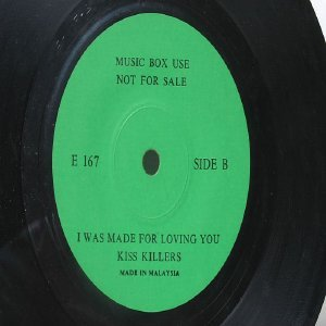 "KISS KILLERS I Was MAde For Loving You MALAYSIA Jukebox Promo GREEN LABEL 7 "" 45 RPM"