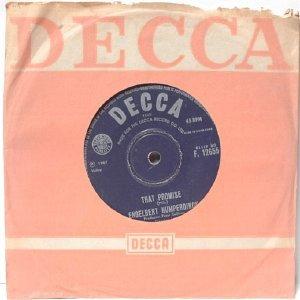 """ENGLEBERT HUMPERDINCK That Promise  ASIA  Hong Kong DECCA 7"""" 45 RPM PS"""