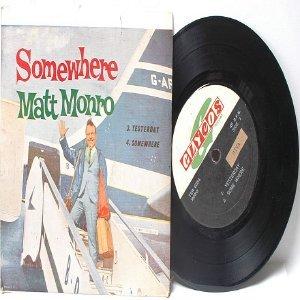 "MATT MONRO Somewhere  ASIA Malaysia 7"" 45 RPM PS EP"