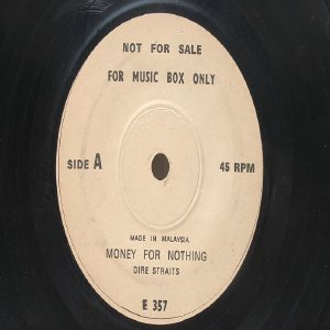 """DIRE STRAITS Money For Nothing MALAYSIA 7"""" Jukebox Promo  ASIA 7"""" 45 RPM"""