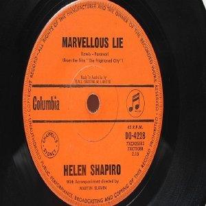 "HELEN SHAPIRO Marvelous Lie AUSTRALIA OZ Aussie  7"" 45 RPM"