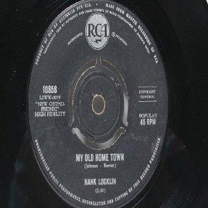 """HANK LOCKLIN My Old Home Town  Australia AUSSIE Oz 7"""" 45 RPM"""