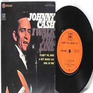"JOHNNY CASH I Walk The Line INTERNATIONAL CBS  ASIA 7"" 45 RPM PS EP"