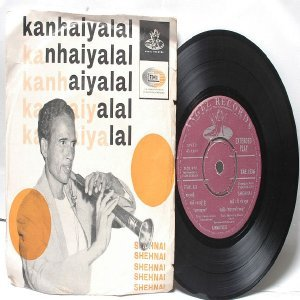 "BOLLYWOOD INDIAN  Kanhaiyalal SHEHNAI 7"" 45 RPM EMI Angel EP 1969"