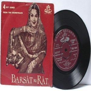 """BOLLYWOOD INDIAN  Barsat Ki Rat LATA MANGESHKAR Mohd. Rafi 7"""" 45 RPM Angel EP"""