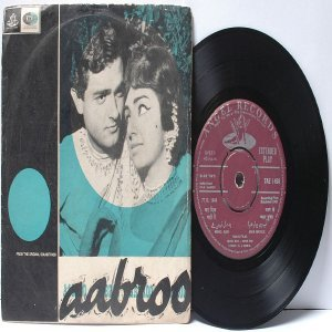 "BOLLYWOOD INDIAN  Aarbroo SONIK OMI Mohd. Rafi ASHA BHOSLE 7"" 45 RPM EMI Angel EP 1968"