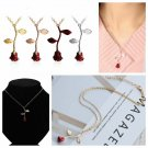 Gold Plated Charm Jewelry Necklace Red Rose Flower Pendant Valentine Gifts