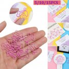Office Supply Sealing Clamp DIY Paper Clip Book Mark Pink Pig Shape Bookmark