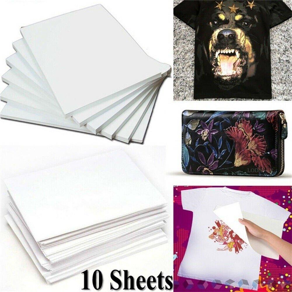 10Pcs Fashion DIY A4 Light Fabric Heat Transfer Paper Iron-On T-Shirt Painting-
