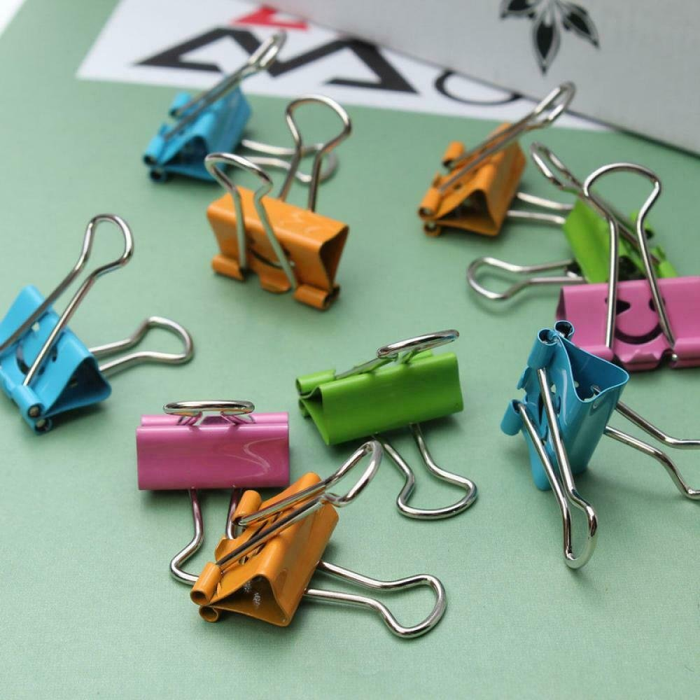 Lovely School Home Office Binder Clips Smile Face Metal Paper File Organizer