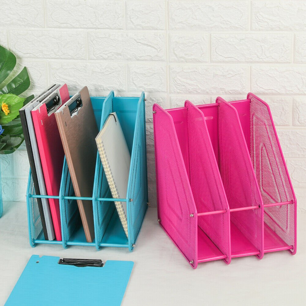 Stationery Papers Tray File Holder Shelf 3 Tier Desk Organizer Metal Bookends