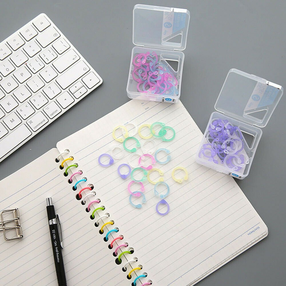 Craft Circle Keychain Loose Leaf Ring Easy Ring Hinged Binder Scrapbook Clips