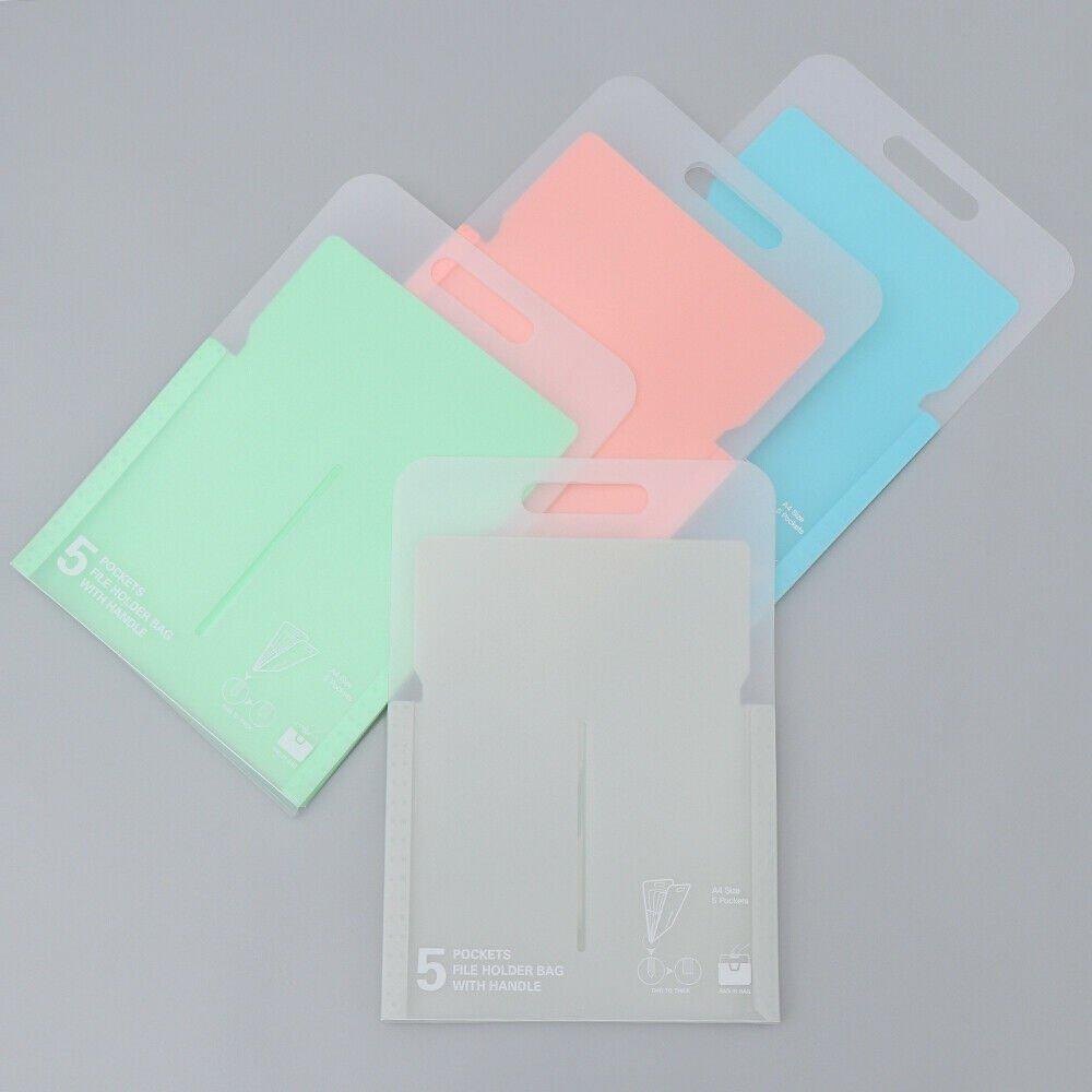Plastic File Case Expanding Document Bag File Folder 5 Pockets Paper Organizer