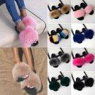 Xmas Gift Winter Flats Slippers Real Fox Fur Plush Slippers Fluffy Flip Flops