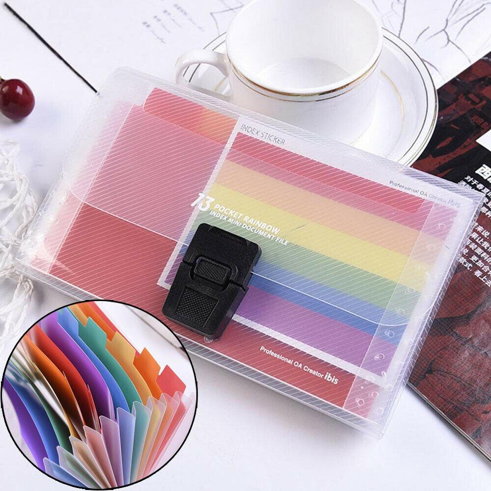 Plastic Expanding File Case 13 Pockets Paper Organizer File Folder Document Bag