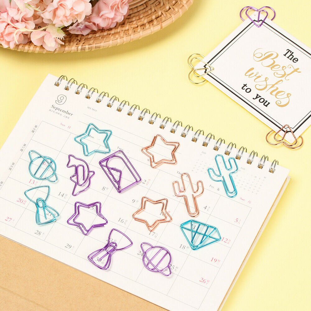 Stationery Cartoon Shaped Metal Memo Paper Clips Bookmark Binder Clip Colored