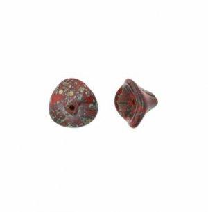 Opaque Red - Picasso Czech 3 Petal Flower Beads 25