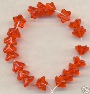 Orange 5 Petal Glass GLASS Czech BEADS