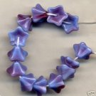 Lilac w Deep Raspberry Swirl Czech Glass Flower Beads
