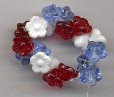 Patriotic Red White & Blue Flower Buttons Glass Czech Beads 18pc