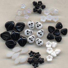 Glass Skull Garden Bead Mix +Flowers Leaves Fun!